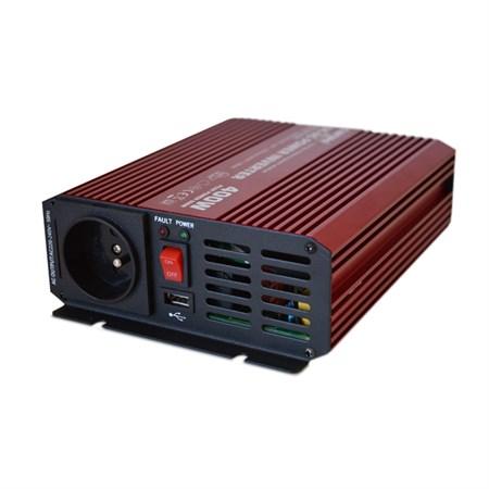 Měnič napětí 12V/230V  400W CZ sinusovka + USB CARSPA