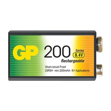Baterie 6F22 (9V) nabíjecí GP NiMH 200mAh