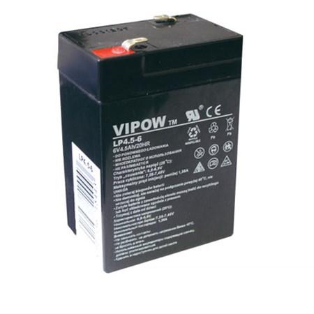 Baterie olověná   6V/ 4.5Ah  VIPOW bezúdržbový akumulátor (4,2Ah)