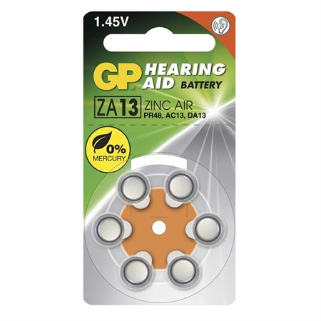 Baterie do naslouchadel GP ZA13, 6 ks v blistru