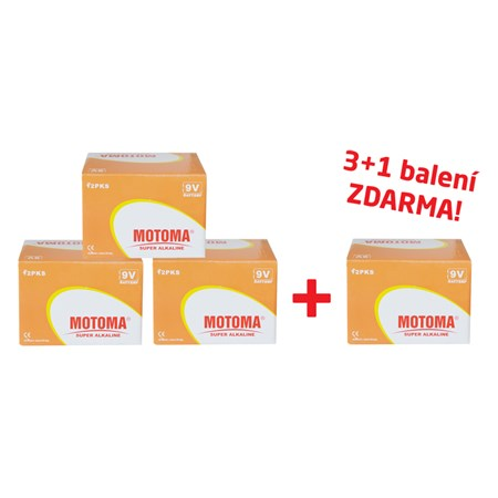 Balíček 3+1 Baterie 6F22 (9V) alkalická MOTOMA Ultra alkaline (4 krabice 04270219)