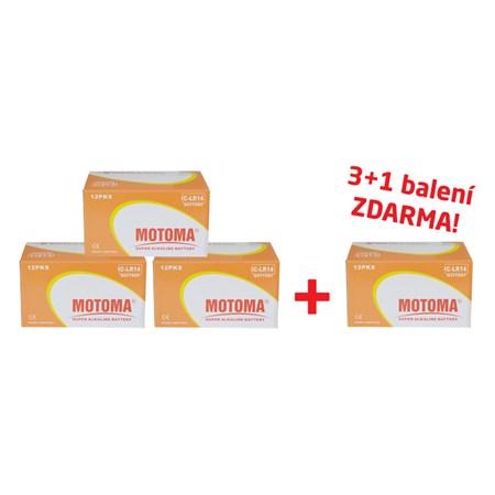 Balíček 3+1 (96 ks) Baterie C (R14) alkalická MOTOMA Ultra Alkaline (4 krabice 04270218)