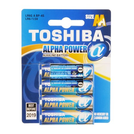 BAT ALPHA POWER LR6 4BP AA TOSHIBA
