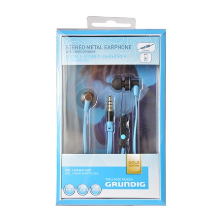 Sluchátka Grundig 48536 kovová s mikrofonem modrá
