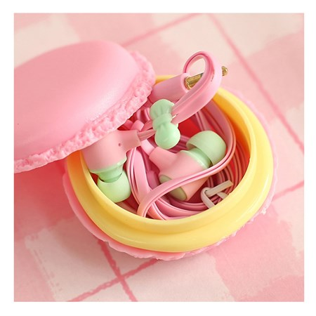 Sluchátka do uší silikonová Macarone růžová