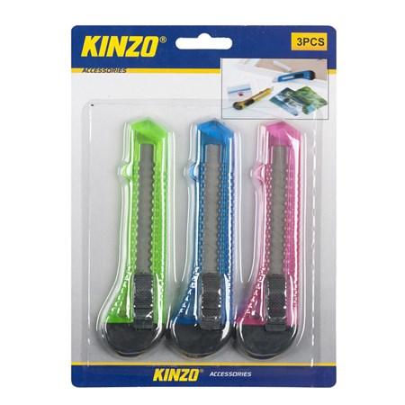 Nůž ulamovací plastový 18mm sada 3ks, KINZO