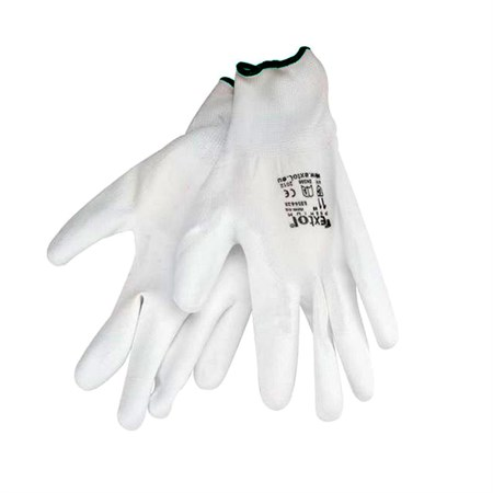 Rukavice 9'' bílé z polyesteru polomáčené v PU, EXTOL PREMIUM
