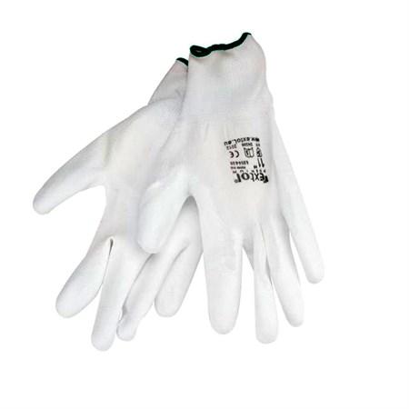 Rukavice 11'' bílé z polyesteru polomáčené v PU, EXTOL PREMIUM