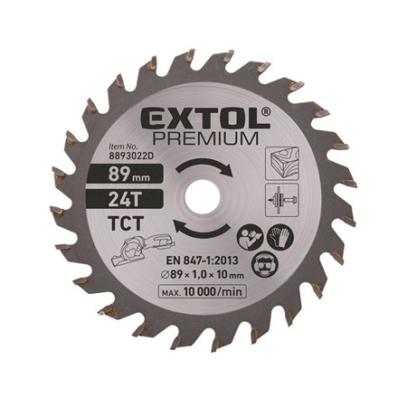 Kotouč pilový s SK plátky, Ř89 x 1,0 x 10 mm, 24T, EXTOL PREMIUM