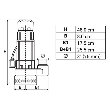 Submersible pump, 750W, 39000l / h, EXTOL PREMIUM, 8895040
