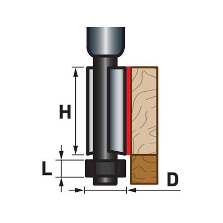 Fréza ořezávací do dřeva, D12,7xH25, stopka 8mm, EXTOL PREMIUM