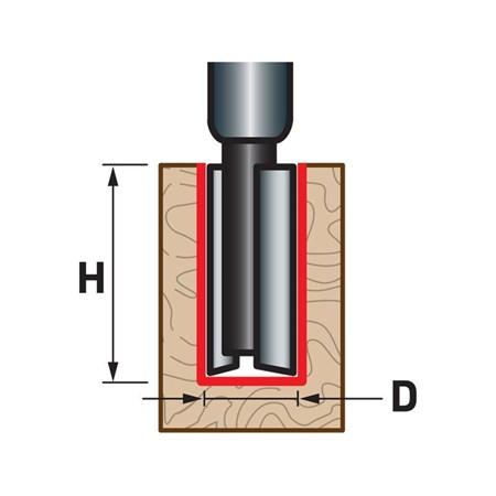 Fréza drážkovací do dřeva, D6,3xH25, stopka 8mm, EXTOL PREMIUM