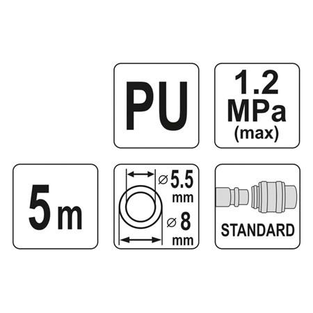 Hadice vzduchová spirální PU 5,5x8mm, 5m