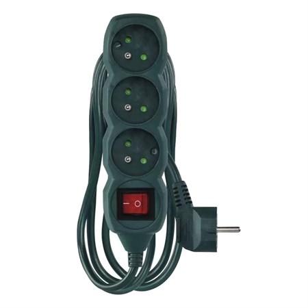 Prodlužovací kabel s vypínačem 3 zásuvky  3m zelená