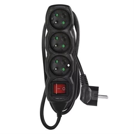Prodlužovací kabel s vypínačem 3 zásuvky  3m černý