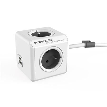 Zásuvka PowerCube EXTENDED USB s kabelem 1.5m šedá