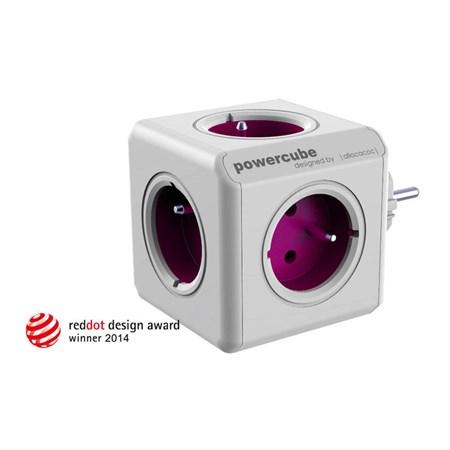 Zásuvka PowerCube REWIRABLE + TRAVEL PLUGS fialová