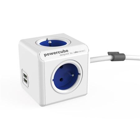 Zásuvka PowerCube EXTENDED USB s kabelem 1.5m modrá
