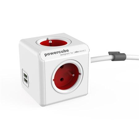 Zásuvka PowerCube EXTENDED USB s kabelem 1.5m červená