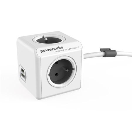 Zásuvka PowerCube EXTENDED USB s kabelem 3m šedá