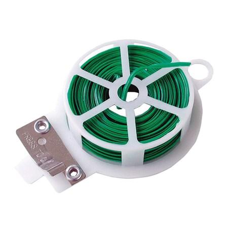 Drát vázací s plastovým povrchem, plochý 50m, se střižným mechanismem