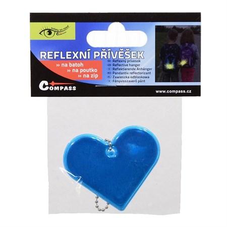 Reflexní přívěšek SRDCE modrý
