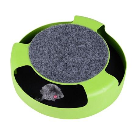 Hračka pro kočky - myš v kruhu se škrábacím kobercem