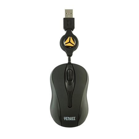 PC myš  YENKEE YMS 4005BK LIma Black, zatažitelný kabel, obouručná