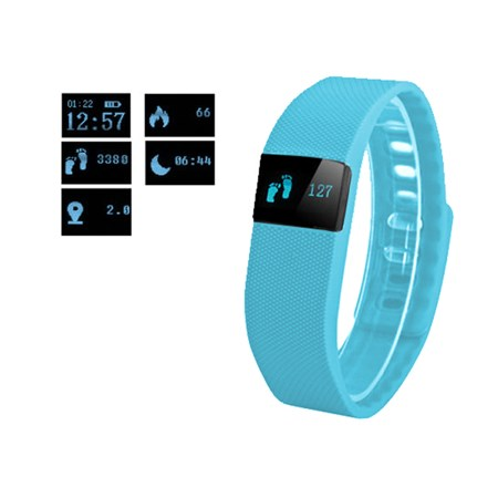 Fitness náramek FT64, OLED, Bluetooth 4.0, Android+iOS modrá