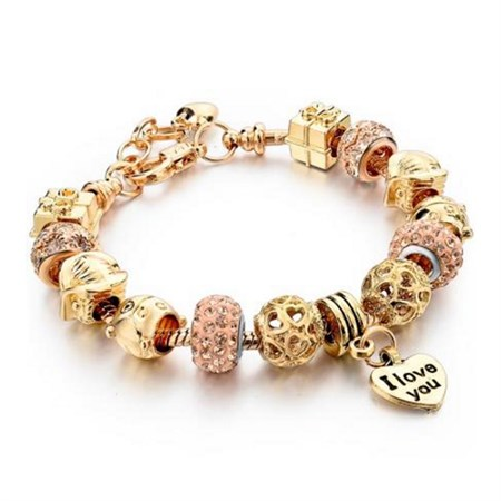 Šperk náramek Eternal - Zlatá / Růžová