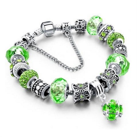 Šperk náramek Eternal - Stříbrná/Zelená 2
