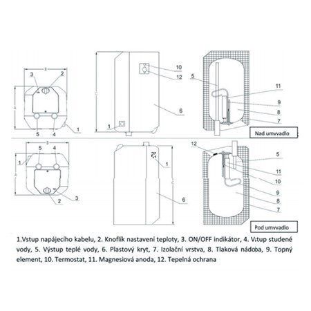 Ohřívač vody NOVO 10 S elektrický bojler nad/pod umyvadlo