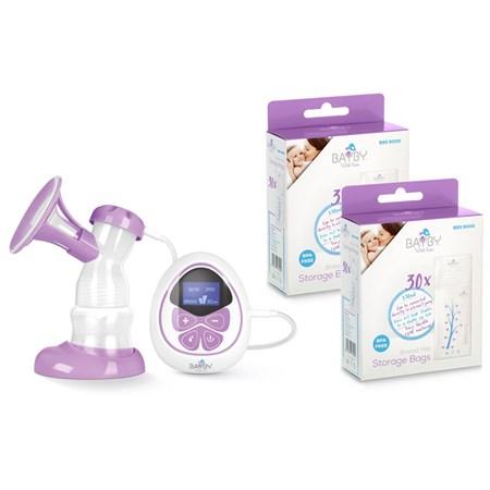 Odsávačka mléka BAYBY BBP 1010 elektrická + 2x sáčky na mateřské mléko BBS 6000