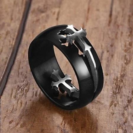 Prsten Dark černá/stříbrná barva 72mm, pánský