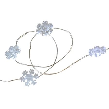 Řetěz vánoční 30 LED, 3m, 3xAA, sněhové vločky, bílá