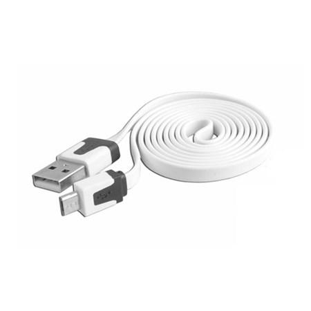 Kabel USB - Micro USB, bílý, plochý 1m