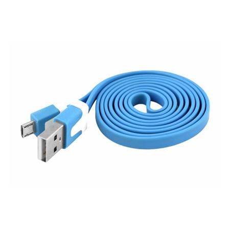 Kabel USB - Micro USB, modrý, plochý 1m