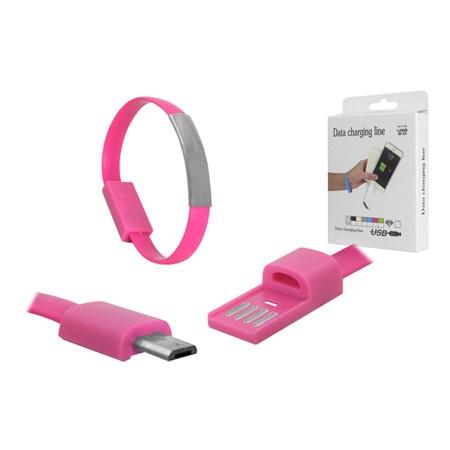Náramek USB - Micro USB univerzální růžový
