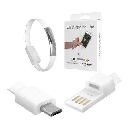 Náramek USB - Micro USB univerzální bílý