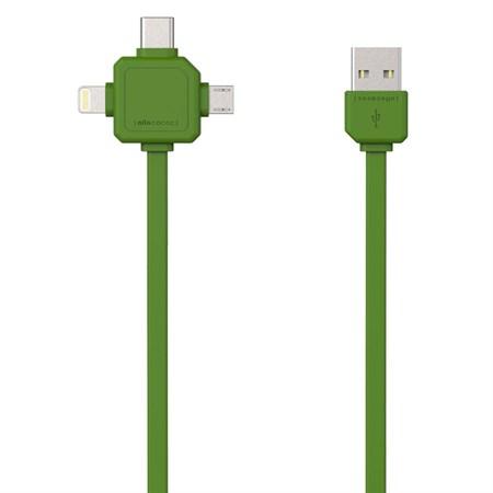 Kabel USB - MICRO USB / USB C-TYPE / LIGHTNING  PowerCube zelený