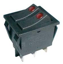Přepínač kolébkový  2x(2pol./3pin) ON-OFF 250V/15A pros. bod R