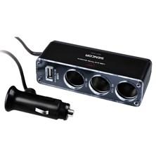 Adaptér  auto-napájecí SENCOR 1xkon./3x zdířka/USB - 12V/5V, 500mA, 50cm kabel