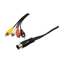 Kabel audio DIN - 4x CINCH 1 m KÖNIG VLAP20400B10