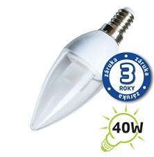 Žárovka LED C37 E14  5W bílá teplá (Pc) čirá TIPA