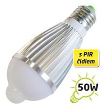 Žárovka LED A60 E27  7W s PIR bílá přírodní TIPA