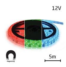 LED pásek 12V 5050  60LED/m IP65 max. 12W/m RGB, magnetický (1ks=cívka 5m) zalitý