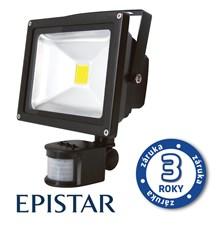 LED reflektor venkovní s PIR  20W/1700lm EPISTAR, MCOB, AC 230V, STUDENÁ, černý
