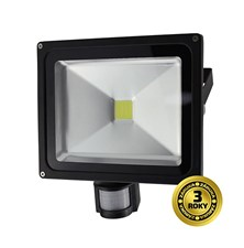 LED venkovní reflektor, 30W, 2100lm, AC 230V, černá, se senzorem WM-30WS-E SOLIGHT