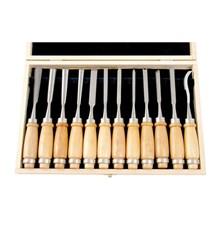 Dláta řezbářská, sada 12ks délka 200mm, v dřevěné krabici, tvrzené na HRC 58-60 EXTOL PREMIUM