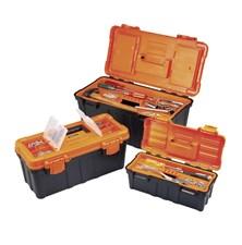 Kufr na nářadí Basetech, třídílný, oranžová/černá